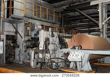 Paper Production Producing Packaging Paper And Cardboard From Waste Paper. Industrial Equipment, Pap