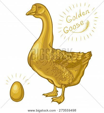 Golden Goose, Goose On A White Background, Golden Egg