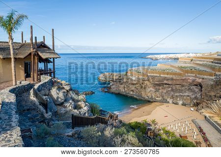 Beautiful Small Bay With Sand Beach And Wooden House On Top Of Hiking Path To It. Playa Obama, Tener