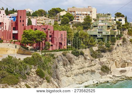 Spanish Mediterranean Coastline In Alicante, Calpe. Buildings Landmarks. Tourism