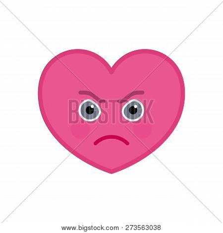 Frenzied heart shaped funny emoticon icon. Furious pink   symbol. Social communication and online chatting vector element. Enraged face showing facial emotion. Valentines day mascot in flat style poster