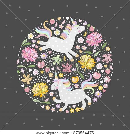 Magic Unicorns In Flowering Garden With Pink And Yellow Flowers. Vector Illustration For Print On T-