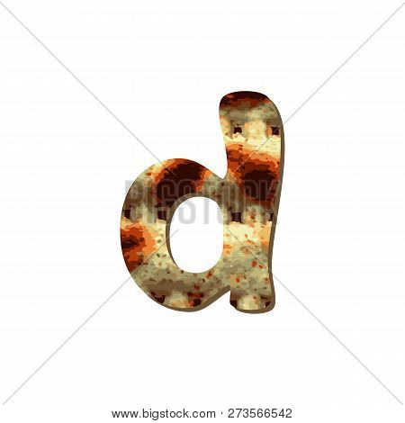Rounded English Lowercase Letter D With Matza Texture. Font For Passover. Vector Illustration On Iso