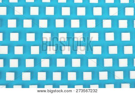 White Sweet Sugar Cubes Seamless Pattern - Blue Background