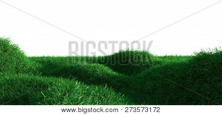 Green Grass Growing On Hills With White Background. 3d Rendering
