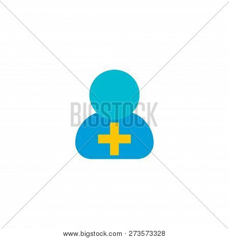 Add Member Icon Flat Element.  Illustration Of Add Member Icon Flat Isolated On Clean Background For
