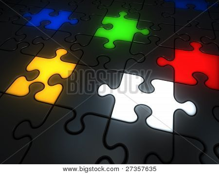 Glowing Colorful Jigsaw Pieces