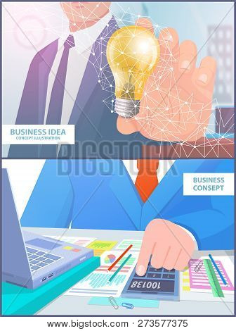 Business Idea Concept Illustration Analyze Vector Set. Businessman With Electric Bulb And Person Cal