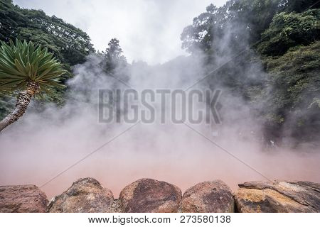 Chinoike Jigoku (blood Pond Hell) Pond In Autumn, Which Is One Of The Famous Natural Hot Springs Vie