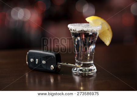 The Concept Of A Dui. Law Hammer, Alcohol And Car Keys On Wooden Table,