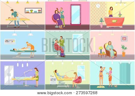 Spa Center And Beauty Salon Interior Cartoon Set Vector Banner. Equipment And Amenity For Medical An