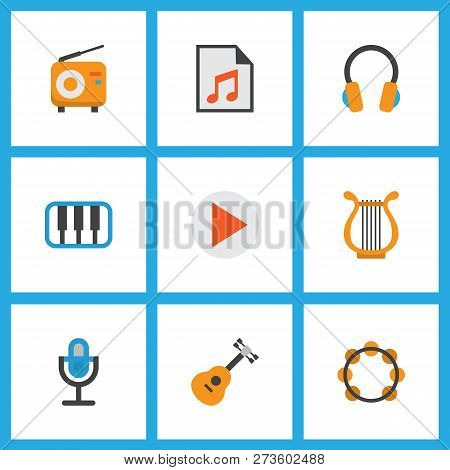 Music Icons Flat Style Set With Play List, Begin, Earpiece And Other Acoustic Elements. Isolated Vec