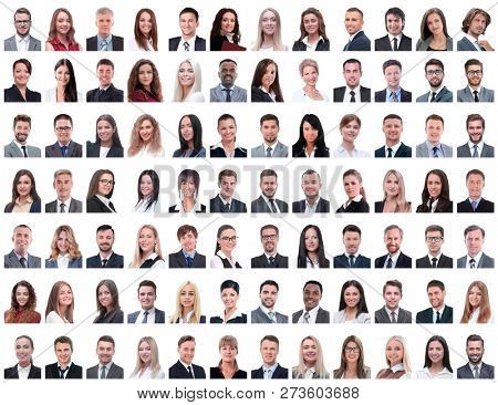 portraits of successful employees isolated on a white