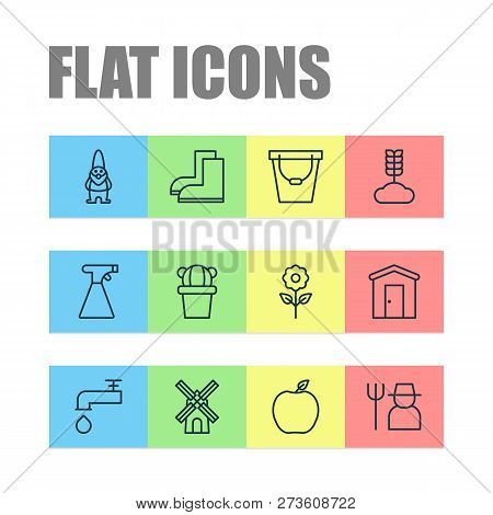 Gardening Icons Set With Windmill, Barn, Sprayer And Other Spigot Elements. Isolated  Illustration G