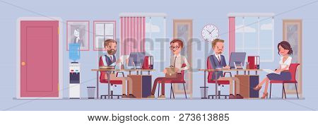 Office Business Workspace, Hr Manager Interviewing Job Applicant, Company Staff Working. Busy Employ