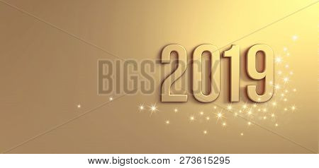 New Year 2019 Date Number On A Glittering Gold Background - 3d Illustration