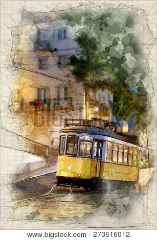 Painting of a Tramway uphill in Lisbon, late at night