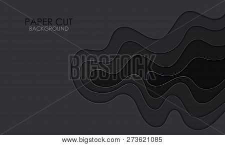 Black paper cut background. Abstract realistic papercut decoration textured with wavy layers .3d topography relief. Vector illustration. Cover layout template. poster