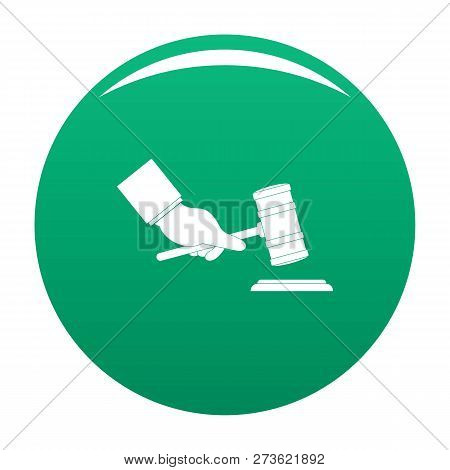 Gavel In Hand Icon. Simple Illustration Of Gavel In Hand Icon For Any Design Green