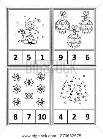 Winter Holidays Themed Counting 1 To 10 Practise For Kids Worksheet Or Four Task Cards (when Cut Alo