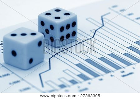 dices on financial chart,concept.