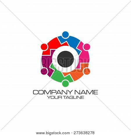Human Character Vector Logo Concept Illustration. Abstract Man Figure Logo. People Logo. Friendship