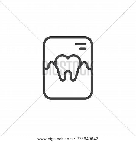 Tooth X-ray Outline Icon. Linear Style Sign For Mobile Concept And Web Design. Dental X Ray Simple L