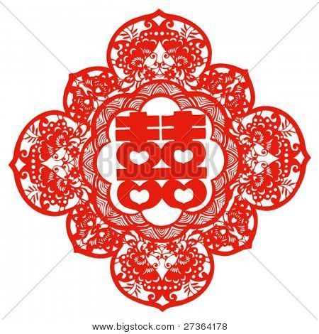 Vector of Traditional Chinese Paper-cut for Happiness--usually pasted on window or wall to celebrate the new marrage of couple.