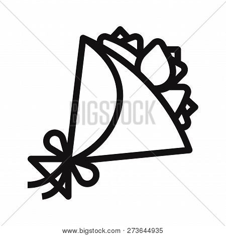 Flowers Bouquet Icon Isolated On White Background. Flowers Bouquet Icon In Trendy Design Style. Flow