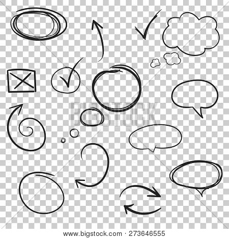 Hand Drawn Arrows And Circles Icon Set. Collection Of Pencil Ske