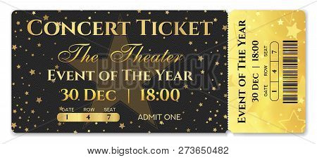 Admission Ticket Template. Vector Mockup Concert Ticket (tear-off) With Star Magical Black Backgroun