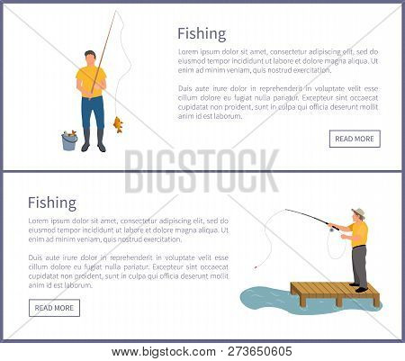 Fishing People Wearing Waders And Special Clothes On Posters Set. Man Catching Fish And Put In Bucke