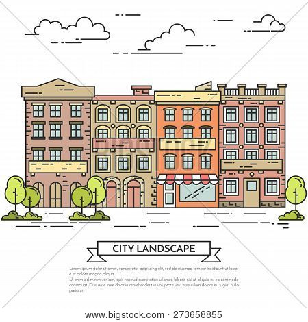 City Landscape With Houses, Trees And Clouds Flat Line Art