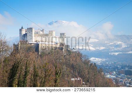 Beautiful View On Salzburg Skyline With Festung Hohensalzburg In The Winter