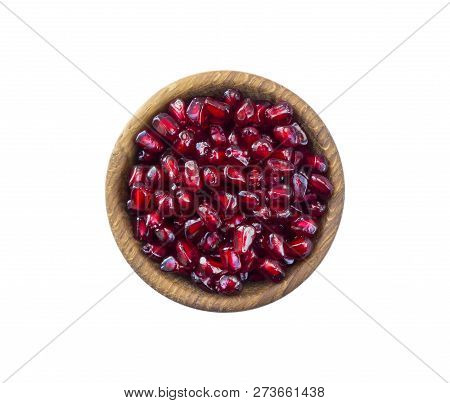 Bowl With Pomegranate Seeds Isolated On White Background. Ripe Pomegranates Close-up. Sweet And Juic