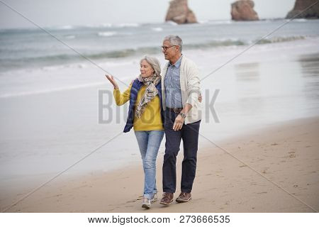 Happy senior couple walking together on the beach