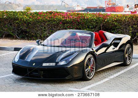 Dubai, Uae - November 18, 2018: Luxury Sportscar Ferrari 488 Spider In The City Street.