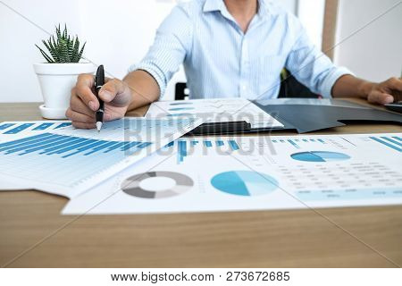 Businessman Accountant Making Working Audit And Calculating Expense Financial Annual Financial Repor