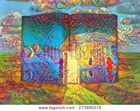 Abstract colorful painting. Book of light with open door. 3D rendering