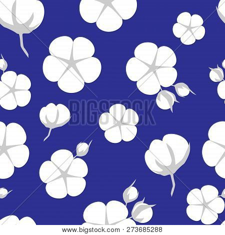 Cotton Bolls Or Flower Seamless Pattern. Vector Illustration In Flat Style
