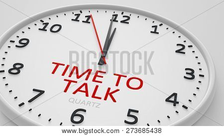 time to talk modern bright clock style 3d illustration