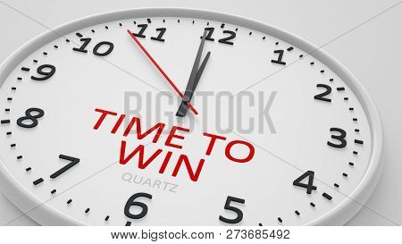 Time to win clock text modern bright style 3d illustration