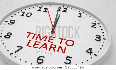 time to learn modern bright clock style 3d illustration