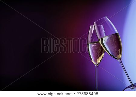 champagne glasses happy birthday clink glasses background 3d illustration