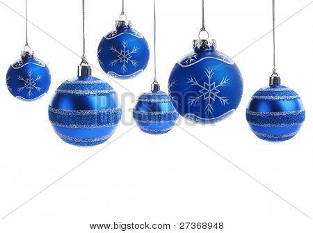 Blue christmas balls over white background