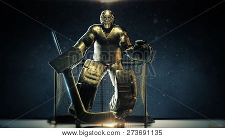 Shining Bronze Metal Statue Of Ice Hockey Goalie In Front Gates With Dramatic Light And Dust Particl
