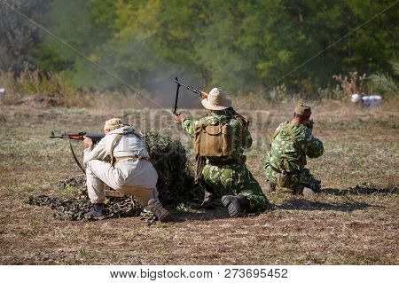 Sambek, Rostov Region, Russia, August 19, 2018: Reconstruction Of Afghan War. Reconstruction Of The
