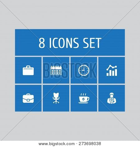 Set of 8 bureau icons set. Collection of almanac, hot drink, clock and other elements. poster