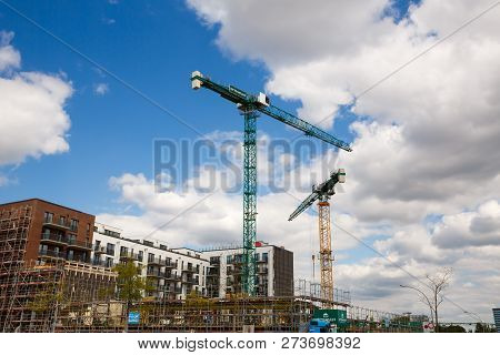 Hamburg, Germany - August 17, 2016 - Construction Site With Cranes And Building In Hafencity Distric