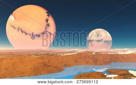 Distant Origins Planet 3d Illustration - Beautiful Blue Methane Rivers Flow On This Alien Planet Wit